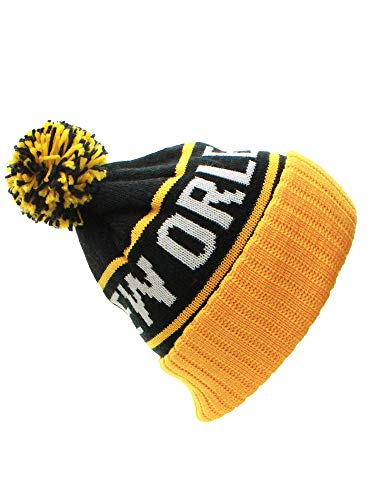 American Cities New Orleans Champions Cuff Cable Knit Pom Pom Beanie Hat Cap