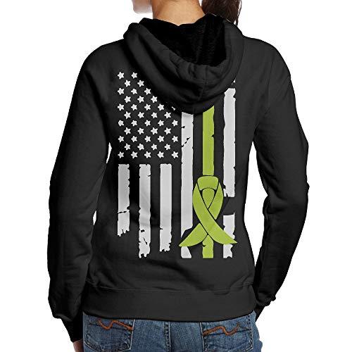 BMWEITIHB Lymphoma Awareness USA Flag-1 Ladies Hooded Sweatshirts (Back Print)