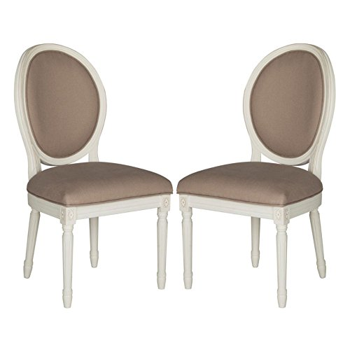 Safavieh Home Collection Holloway French Brasserie Taupe Linen & Cream Oval Side Chair (Set of 2), 19""