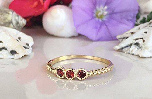 Triple Gemstones Ring - Garnet Ring - Stack Red Ring - January Birthstone - Dainty Ring - Tiny Ring - Slim Band - Simple ring