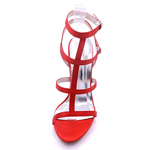 L@YC Las Mujeres del Satén del Alto Talón D7216-08 Open Toe Prom Party Zapatos de La Boda del Verano Nupcial Champagne