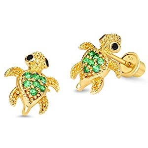 - 417Bx44FJAL - 14k Gold Plated Brass Turtle Cubic Zirconia Screwback Baby Girls Earrings with Sterling Silver Post
