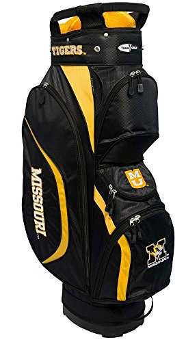 Team Golf NCAA Missouri Tigers Clubhouse Golf Cart Bag, Lightweight, 8-Way Top with Integrated Handle, 6 Zippered Pockets, Padded Strap, Towel Ring, Umbrella Holder & Removable Rain Hood