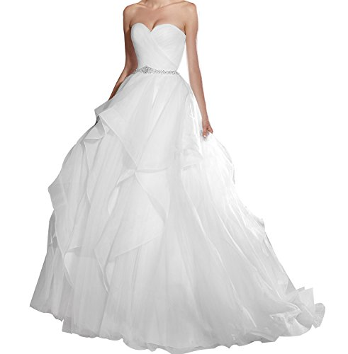 ess Sweetheart Multi Layer Ruffles Organza Puffy Wedding Dress Bridal Ball Gown for Bride White Size 2 ()