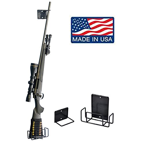 Safety Solutions Gun Accessories Mount Anywhere Single Shotgun Rifle Vinyl Coated Metal Gun Rack (Hand made in USA) (Rifle Rack)