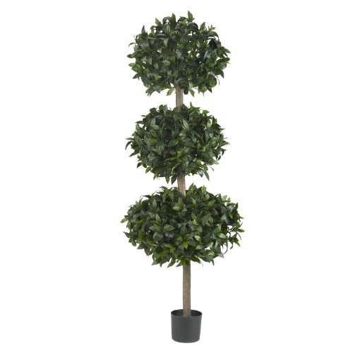 - Nearly Natural 5313 Sweet Bay Triple Ball Tree, 69-Inch, Green