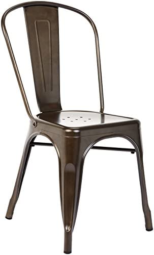 Pioneer Square Haley Stackable Metal Chair, Set of 4, Copper Brown