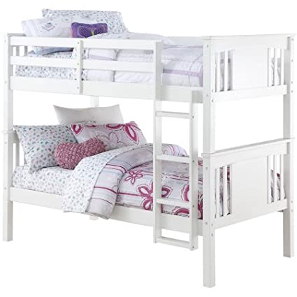 Amazon.com: Better Homes and Gardens Flynn Twin Bunk Bed (White ...