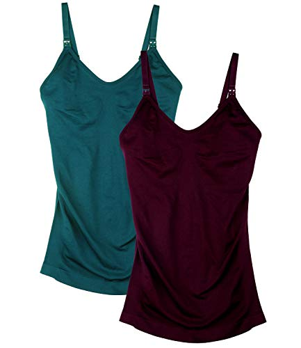 Womens Nursing Tank Tops for Breastfeeding with Built in Bra Maternity Camisole 2Pack Color Green Red Size XL