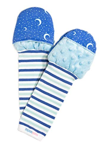 Handsocks Plushy Stay On Strap-Free No-Scratch & Warmth Baby & Kid Mittens- Small (0-6 Months. Bicep Size Should be 4.5-6.5), Sweet Caroline (Stars))