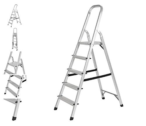 International Silver Starlight (Quality Ladder - 5 Step Aluminum Foldable Ladder - Heavy duty Durable Stool - Non slip Step - Kitchen Garage Tasks - Hold up to 300lbs)