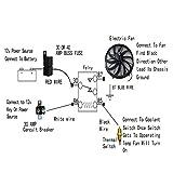 BLACKHORSE-RACING Electric Radiator Fan High 3000 + CFM Thermostat Wiring Switch Relay Kit