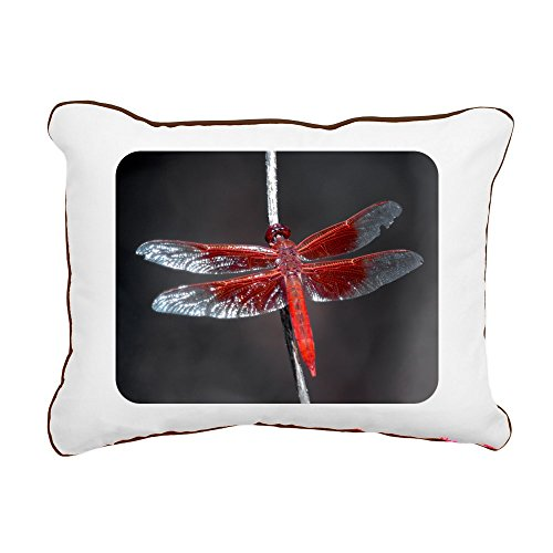 - Rectangular Canvas Throw Pillow Brown Red Flame Dragonfly