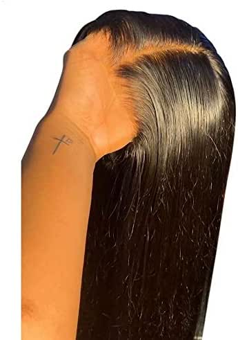 QUINLUX Hair HD Invisible Straight 360 Lace front Human Hair Wigs Pre plucked with Bleached Knots for Woman 150% Density Glueless Full End Wig Brazilian Remy Hair 150% Density 18Inch