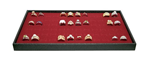 Display Case 72 Blue Ring - Novel Box Jewelry Stackable Wood Utility Tray in Black + 72 Slot Ring Display Foam Insert in Red + NB Cleaning Cloth