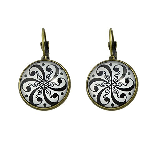 Bronze Hoop (Feelontop Women's Ethnic Bronze Silver Round Vintage Treble Clef Symbol Hoop Earring with Jewelry Pouch (Bronze))