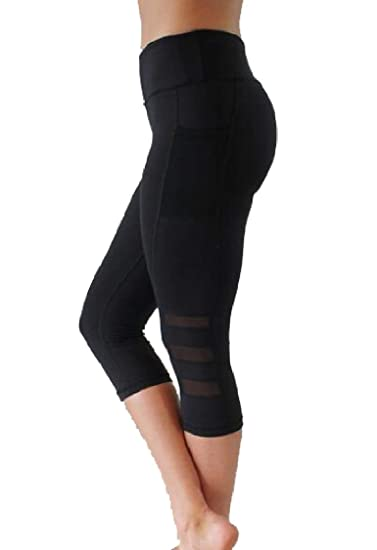 Nanquan Women Capri Legging Yoga Pants Mesh Patchwor ...