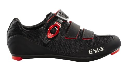 Road Mens Bike Shoes (Fizik Men's R5 Uomo Road Cycling Shoes, Black/Red, Size 42.5)