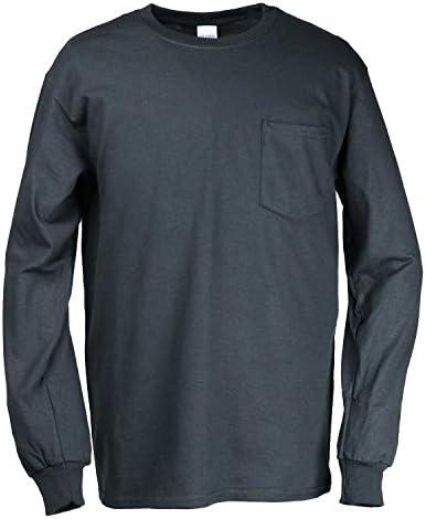 Tシャツ 長袖 米国ブランド ウルトラコットン ポケット付き 6oz クルーネック エコテックスラベル認定ブランド サイズ S~XL 2410 4色 [並行輸入品]