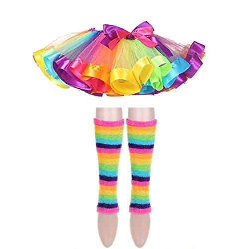 Different Types Of Ballet Costumes (Girls Rainbow Tutu Skirt Dance Ballet Dress Furry Leg Warmers Hair Bows Clips Costume Set (L, Set A))