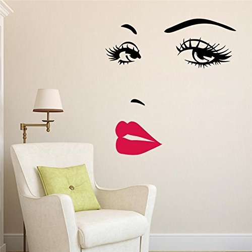 Eco-Friendly Beautiful Face and Red Lips Wall Sticker Home Living Room Bedroom Decoration Women Face Decal Finished Size 57x70cm