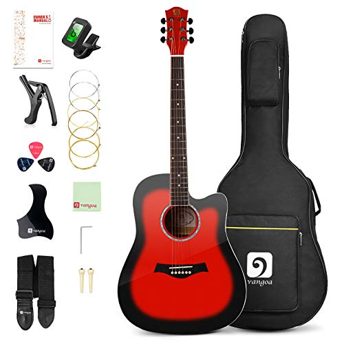 Vangoa 41 Inch Acoustic Guitar Kit Full Size, Red Cutaway Guitar Bundle with Padded Case, Tuner, Capo, Picks, Strap, Extra Strings, Study Guide for Teens Adult Beginner