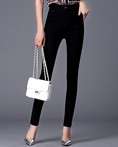negro Jeans Alta Flaco Cintura Pantalones Delgado Vaqueros Fit Casual Mujer zwRq5H81n