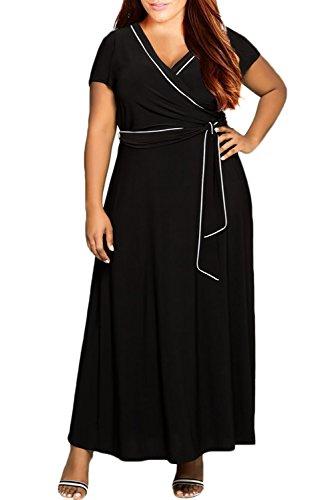 Nemidor Women's V-Neck Short Sleeves Plus Size Casual Maxi Dress (22W, Black)