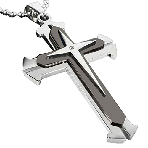 Aniywn Unisex Men Stainless Steel Cross Pendant Concise Stylish Necklace Chain (Black)