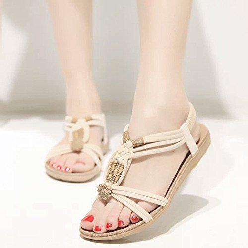 Sunyastor Women Sandals Summer Peep-Toe Roman Bohemia Beach Flip Flops Sandals Shoes Flip-Flop Sweet Beaded Sandals Beige by Sunyastor Shoes (Image #3)