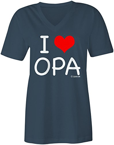 I Love Opa ★ V-Neck T-Shirt Frauen-Damen ★ hochwertig bedruckt mit lustigem Spruch ★ Die perfekte Geschenk-Idee