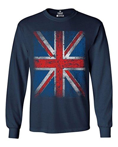Shop4Ever® Union Jack Vintage British Flag Long Sleeve Shirt United Kingdom Flag Shirts Large Navy 13315 (United Kingdom Shirt compare prices)