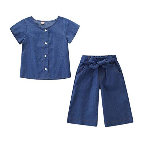 (Baby Girls Outfits Soild Color, Toddler Kids Clothes Denim T-Shirt Tops+Wide Leg Pants Set lkoezi)
