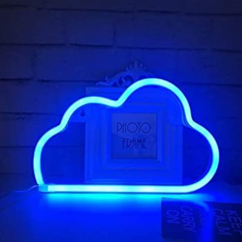 QiaoFei Cute Blue Neon Light,LED Cloud Sign Shaped Decor Light,Marquee Signs/Wall Decor for Christmas,Birthday Party,Kids Room, Living Room, Wedding Party Decor(Blue)