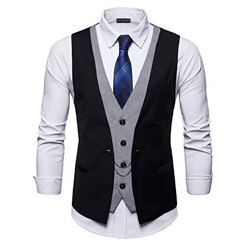 Sin Boda Waistcoat Traje Hombre Blazers Ycueust Vestir Negro Chaleco Ceremonia De Mangas wTU6Xzq