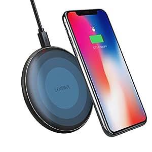 Lensoul Cargador inalámbrico iPhone X almohadilla de carga con cubierta de cuero y base metálica, IOS cargador inalámbrico para iPhone X 8 8Plus Samsung Galaxy Note 8 S6 S7 S8 S8Plus [Sin adaptador de CA]