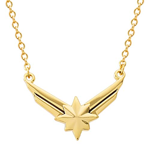 Marvel's Captain Marvel Hala Star Logo Yellow Gold Plated Necklace, 18