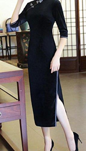 3 Cheongsam Comfy Gold Sleeve 4 Velvet Split Mandarin Collar Black Women YOwqCYg