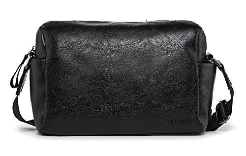 Hengwin PU bolso de hombro de cuero Crossbody Workbag Hanbd bolsa para hombres trabajo viajes - Negro Negro D