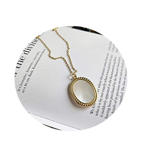 925 Sterling Silver Shell Oval Pendant Necklace Gold Fashion Elegant Choker Necklace For Women New Festival Jewelry gold - Oval Monogrammed Pendant