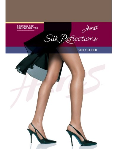 Hanes Silk Reflections Control Top Reinforced Toe Pantyhose,,Town Taupe,,EF