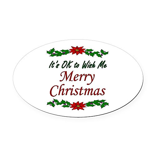 (CafePress - Merry Christmas! Oval Car Magnet - Oval Car Magnet, Euro Oval Magnetic Bumper Sticker)