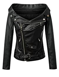 Hurrg Women's Sexy Off Shoulder Faux-Leather Zip Moto Bomber Jacket Coats