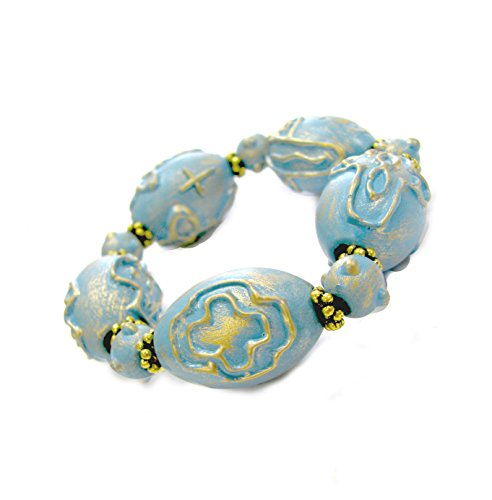 Hand Painted Wood Beads (Linpeng BR05-5 Carved & Painted Vintage Chunky Wood Beads Stretch Bracelet)