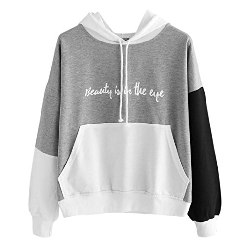 Auwer Womens Letters Long Sleeve Hoodie Sweatshirt Hooded Pullover Tops Blouse With Pockets (M, Gray) (Asian Costume Eye Makeup)