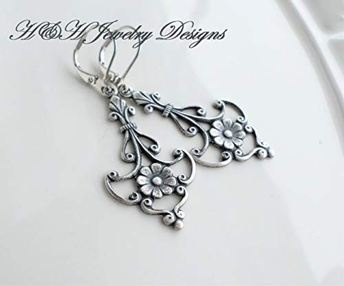 (Art Nouveau Antique Silver Plated Victorian Floral Scroll Earrings)