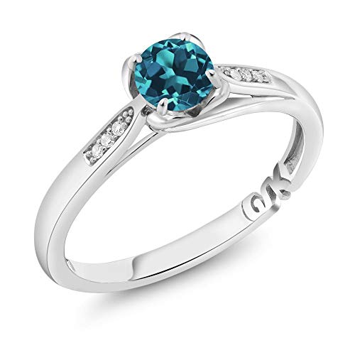 Gem Stone King 10K White Gold 0.54 Ct Round London Blue Topaz and Diamond Engagement Ring (Size 7)