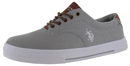 U.S. Polo Assn. Men's Skip In Canvas 4 Grey White Fashion Sneakers (10.5 M, Grey/White)