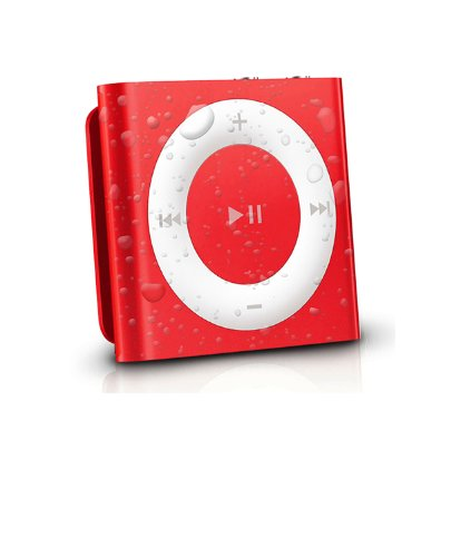 Latest Generation Red Apple iPod Shuffle waterproofed by AudioFlood by AudioFlood