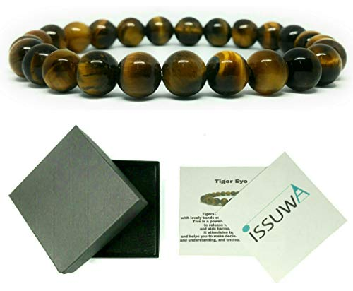 ISSUWA Natural Stone 8mm Gemstone Beaded Adjustable Stretch Bracelet Mens Women 7 inches Box Meaning Card (Tiger Eye) -